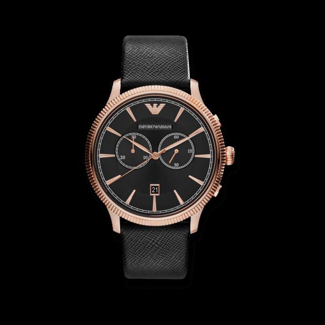 Herrenuhr Emporio Armani Alpha Chronograph mit schwarzem Zifferblatt und Kalbsleder-Armband