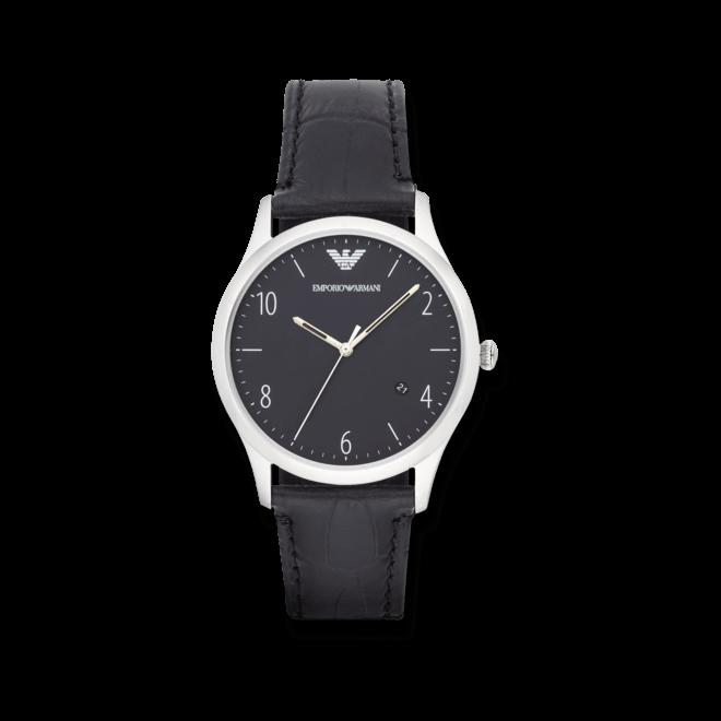 Herrenuhr Emporio Armani Beta 41mm mit schwarzem Zifferblatt und Kalbsleder-Armband