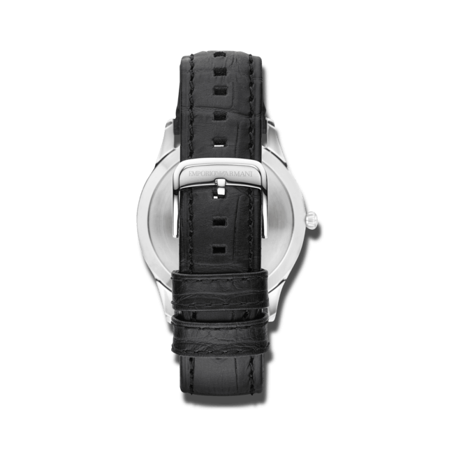 Herrenuhr Emporio Armani Beta mit schwarzem Zifferblatt und Kalbsleder-Armband