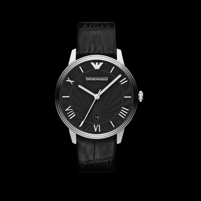 Herrenuhr Emporio Armani Dino 41mm mit schwarzem Zifferblatt und Kalbsleder-Armband
