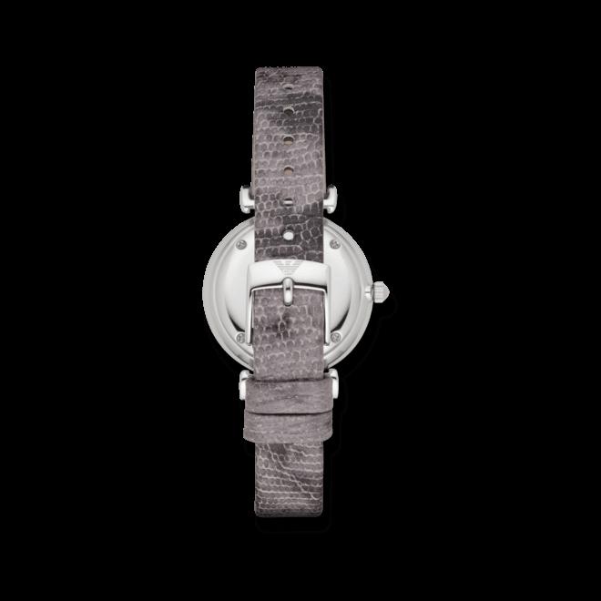 Damenuhr Emporio Armani Gianni T-Bar 32mm mit rosafarbenem Zifferblatt und Kalbsleder-Armband