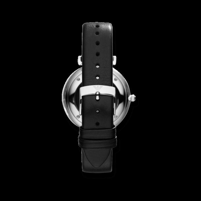 Herrenuhr Emporio Armani Gianni T-Bar 40mm mit silberfarbenem Zifferblatt und Kalbsleder-Armband