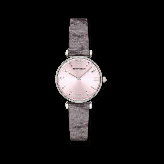 Damenuhr Emporio Armani Gianni T-Bar mit rosafarbenem Zifferblatt und Kalbsleder-Armband