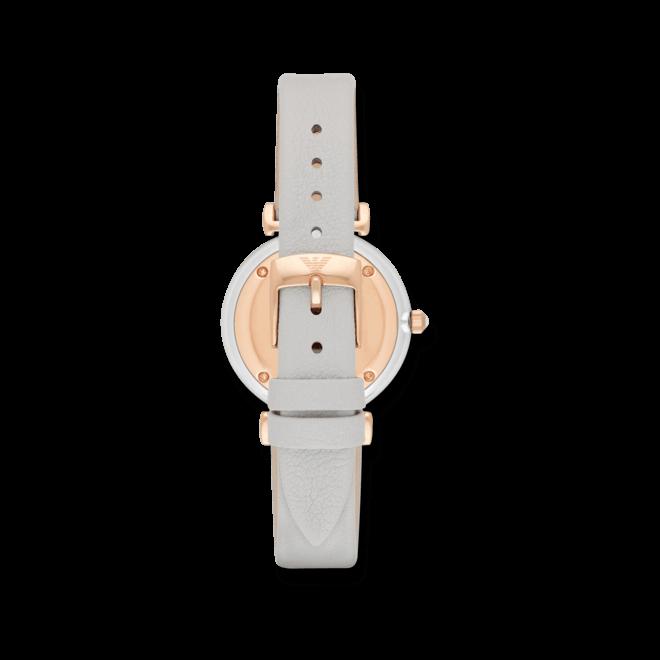 Damenuhr Emporio Armani Gianni T-Bar Retro mit perlmuttfarbenem Zifferblatt und Kalbsleder-Armband