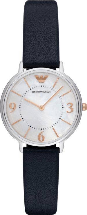 Damenuhr Emporio Armani Kappa mit perlmuttfarbenem Zifferblatt und Kalbsleder-Armband