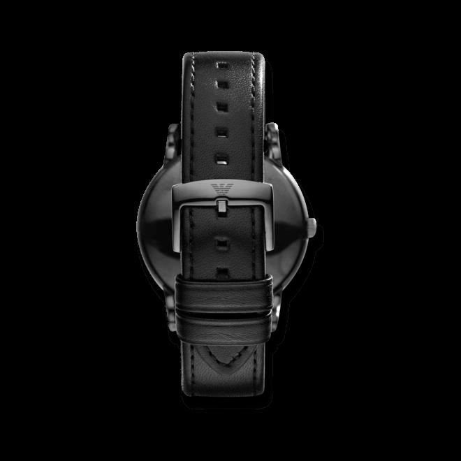 Herrenuhr Emporio Armani Luigi 41mm mit schwarzem Zifferblatt und Kalbsleder-Armband