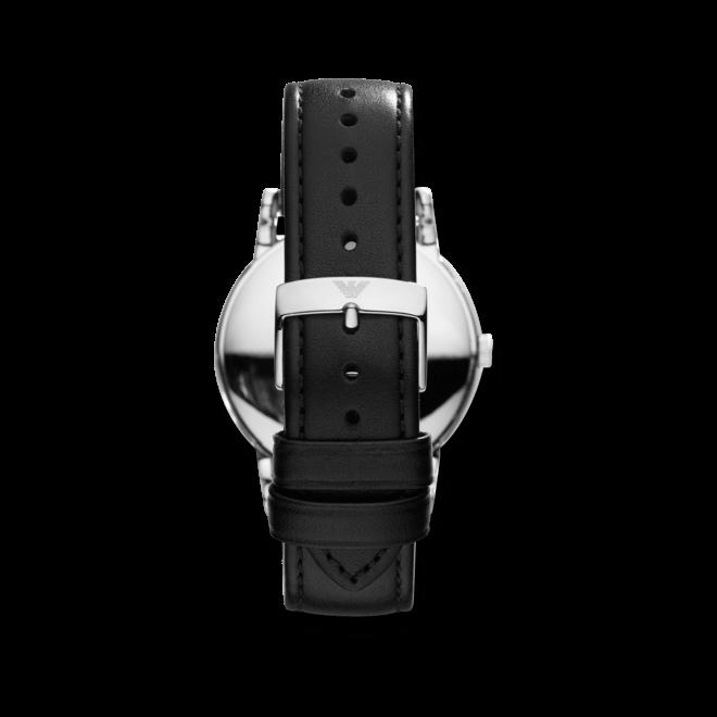 Herrenuhr Emporio Armani Luigi mit schwarzem Zifferblatt und Kalbsleder-Armband