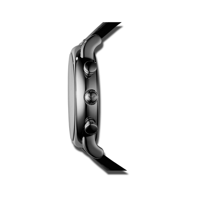 Herrenuhr Emporio Armani Luigi Chronograph mit schwarzem Zifferblatt und Kalbsleder-Armband