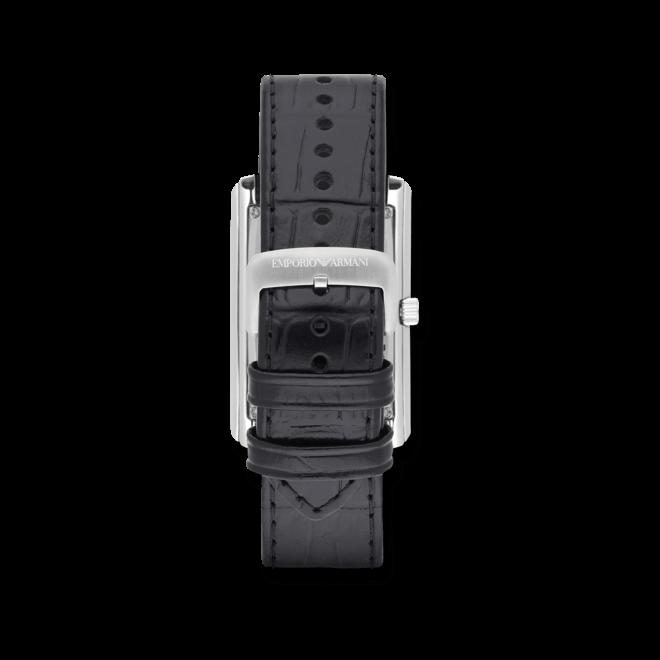 Herrenuhr Emporio Armani Marco Slim 39x32mm mit silberfarbenem Zifferblatt und Kalbsleder-Armband