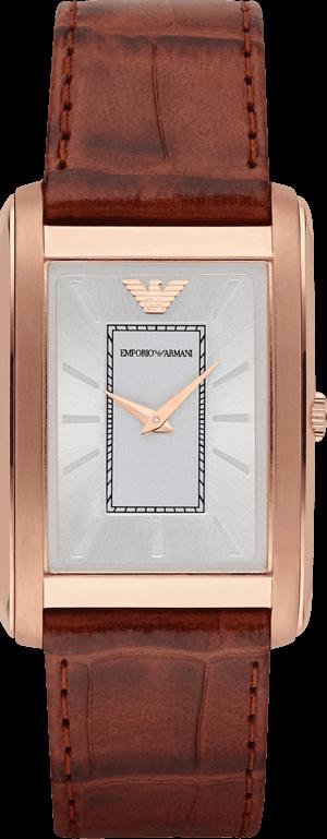 Herrenuhr Emporio Armani Marco Slim mit silberfarbenem Zifferblatt und Kalbsleder-Armband