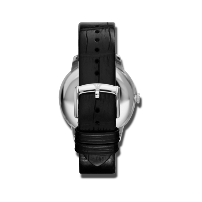 Herrenuhr Emporio Armani New Valente 43mm mit schwarzem Zifferblatt und Kalbsleder-Armband