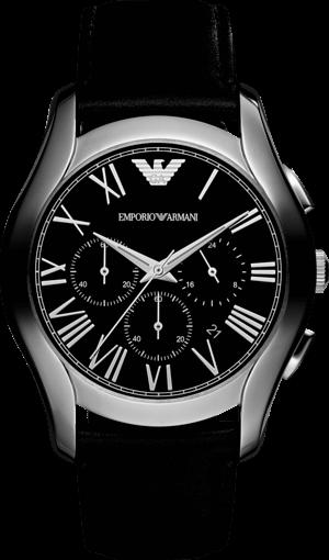 Herrenuhr Emporio Armani New Valente Chronograph mit schwarzem Zifferblatt und Kalbsleder-Armband