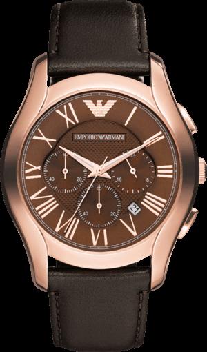 Herrenuhr Emporio Armani New Valente Chronograph mit braunem Zifferblatt und Kalbsleder-Armband