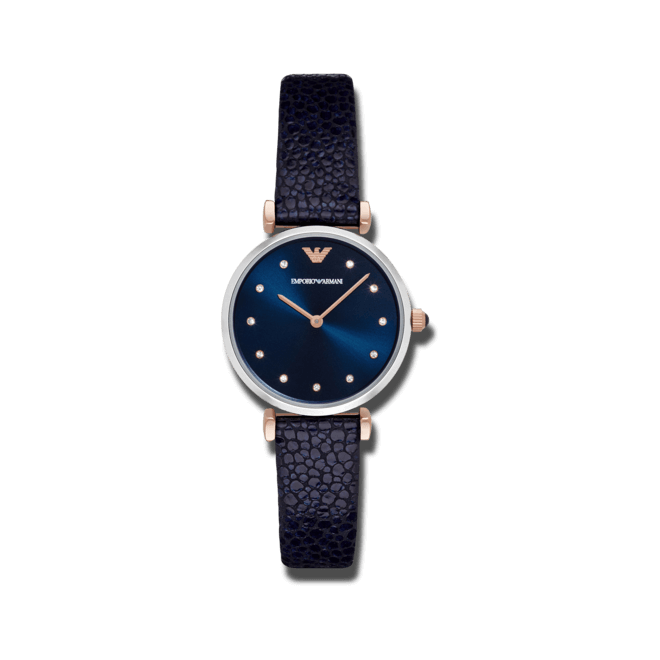 Damenuhr Emporio Armani Classic Quarz 32mm mit blauem Zifferblatt und Kalbsleder-Armband