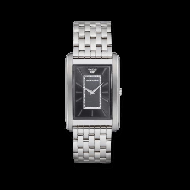 Herrenuhr Emporio Armani Classic Quarz 39x32mm mit schwarzem Zifferblatt und Edelstahlarmband