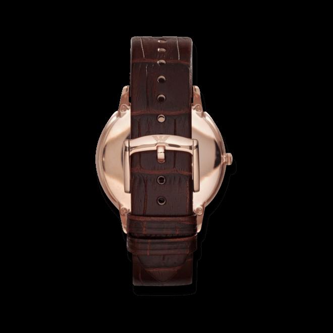 Damenuhr Emporio Armani Classic Quarz 42mm mit weißem Zifferblatt und Armband aus Kalbsleder mit Krokodilprägung