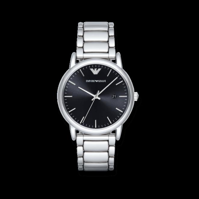 Herrenuhr Emporio Armani Classic Quarz 43mm mit schwarzem Zifferblatt und Edelstahlarmband