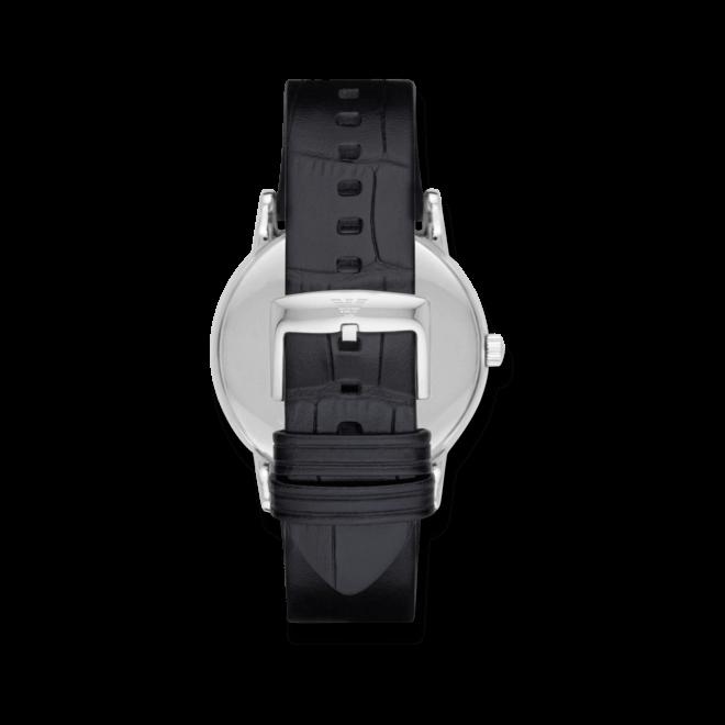 Herrenuhr Emporio Armani Classic Quarz 43mm mit schwarzem Zifferblatt und Kalbsleder-Armband
