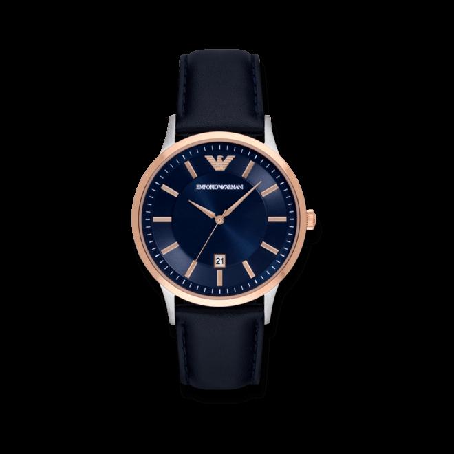 Herrenuhr Emporio Armani Classic Quarz 43mm mit blauem Zifferblatt und Kalbsleder-Armband