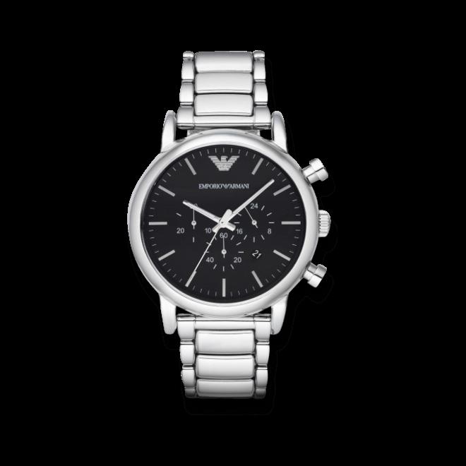 Herrenuhr Emporio Armani Classic Quarz Chrono 46mm mit schwarzem Zifferblatt und Edelstahlarmband