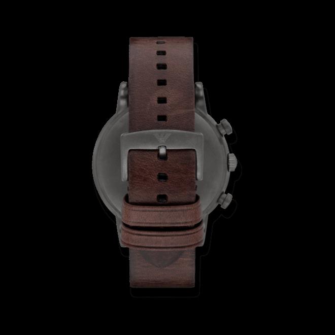 Herrenuhr Emporio Armani Classic Quarz Chronograph 46mm mit schwarzem Zifferblatt und Kalbsleder-Armband