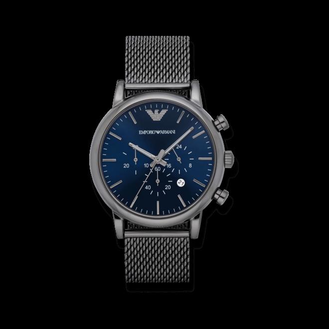 Herrenuhr Emporio Armani Classic Quarz Chronograph 46mm mit blauem Zifferblatt und Edelstahlarmband