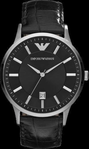 Herrenuhr Emporio Armani Renato mit schwarzem Zifferblatt und Kalbsleder-Armband
