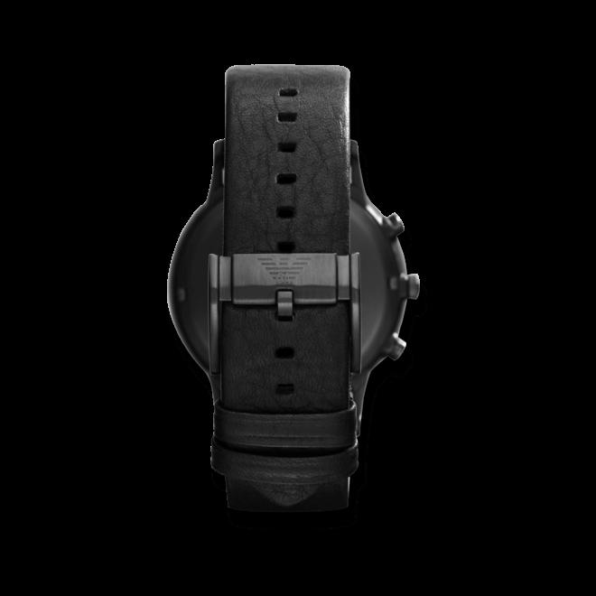 Herrenuhr Emporio Armani Renato Chronograph mit schwarzem Zifferblatt und Kalbsleder-Armband