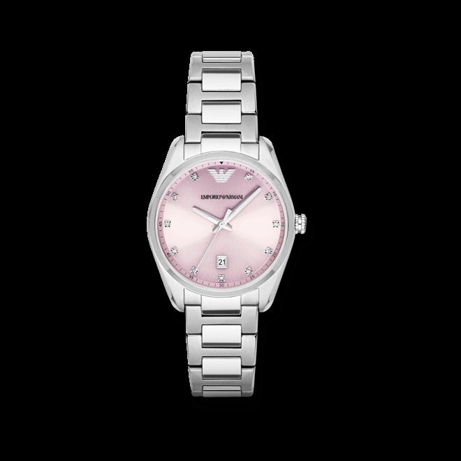 Damenuhr Emporio Armani Tazio 36mm mit rosafarbenem Zifferblatt und Edelstahlarmband