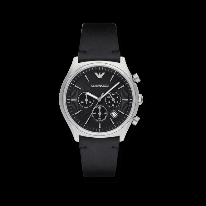 Herrenuhr Emporio Armani Zeta Chronograph mit schwarzem Zifferblatt und Kalbsleder-Armband