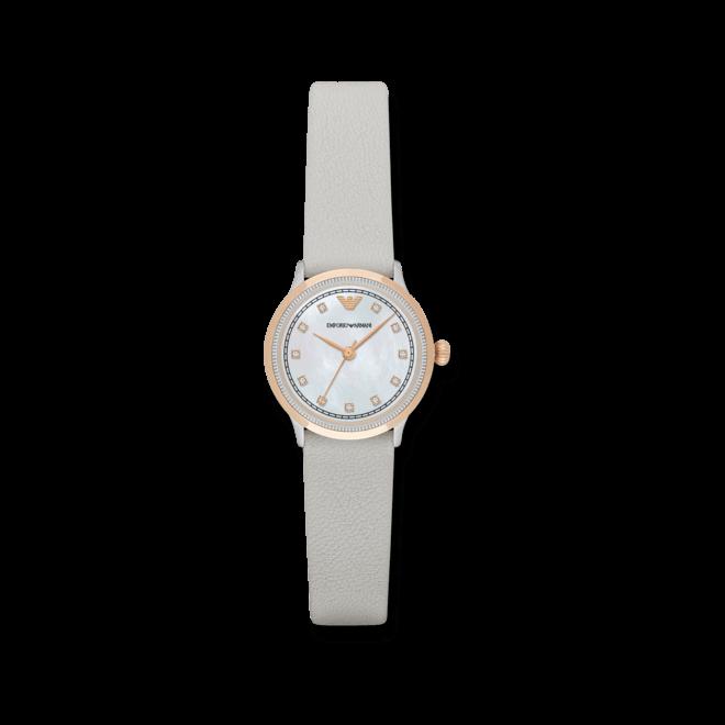 Damenuhr Emporio Armani Alpha 26mm mit perlmuttfarbenem Zifferblatt und Kalbsleder-Armband