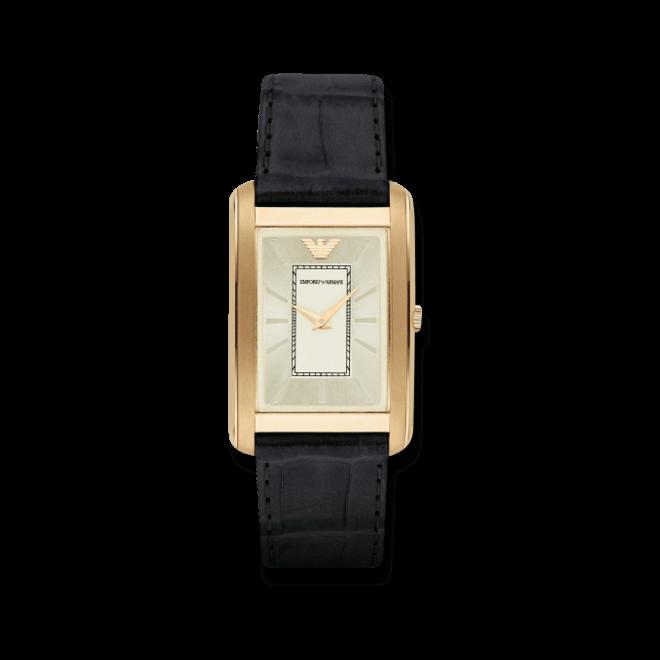 Herrenuhr Emporio Armani Marco Slim 39x32mm mit gelbgoldfarbenem Zifferblatt und Armband aus Kalbsleder mit Krokodilprägung