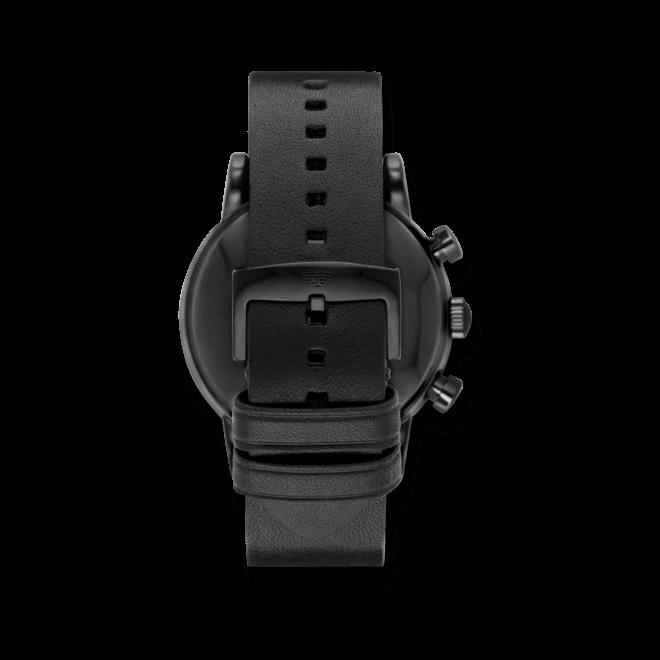Herrenuhr Emporio Armani Sports Quarz Chronograph 46mm mit schwarzem Zifferblatt und Kalbsleder-Armband