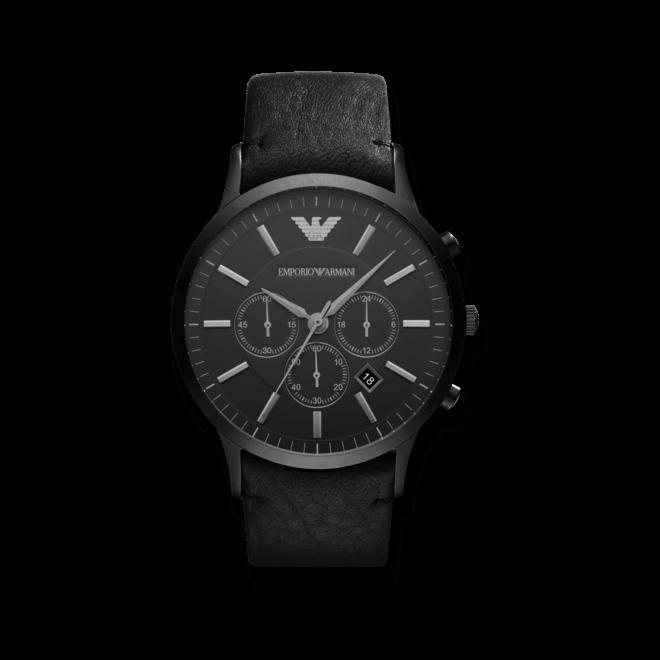 Herrenuhr Emporio Armani Renato 46mm mit schwarzem Zifferblatt und Kalbsleder-Armband