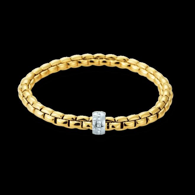 Armband Fope Flex'it Eka aus 750 Gelbgold und 750 Weißgold mit mehreren Brillanten (0,18 Karat) Größe L