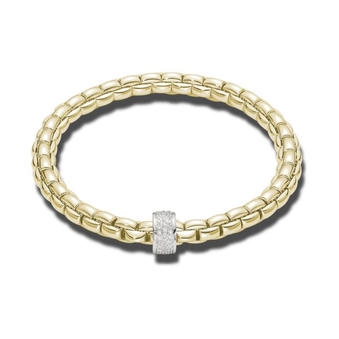 Armband Fope Flex'it Eka aus 750 Gelbgold und 750 Weißgold mit Diamant (0,53 Karat) Größe M