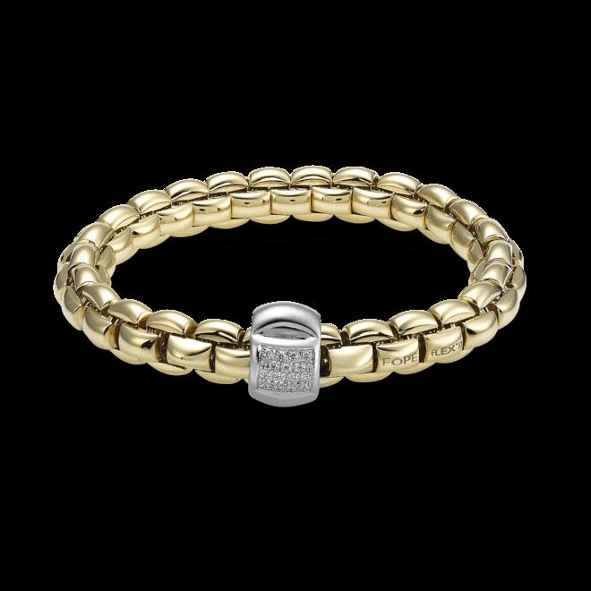 Armband Fope Flex'it Eka Gelbgold aus 750 Gelbgold und 750 Weißgold mit mehreren Brillanten (0,25 Karat) Größe L