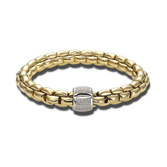 Armband Fope Flex'it Eka Gelbgold aus 750 Gelbgold und 750 Weißgold mit mehreren Brillanten (0,5 Karat) Größe L