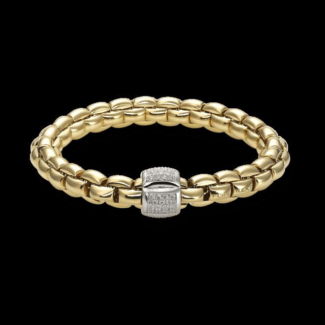 Armband Fope Flex'it Eka Gelbgold aus 750 Gelbgold und 750 Weißgold mit mehreren Brillanten (0,5 Karat) Größe M