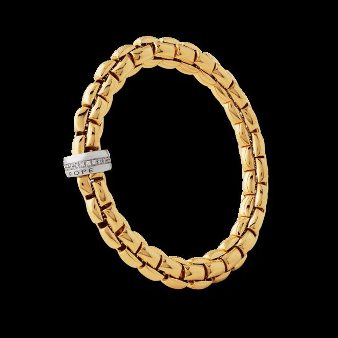 Armband Fope Flex'it Eka Gelbgold aus 750 Gelbgold und 750 Weißgold mit mehreren Brillanten (0,21 Karat) Größe L