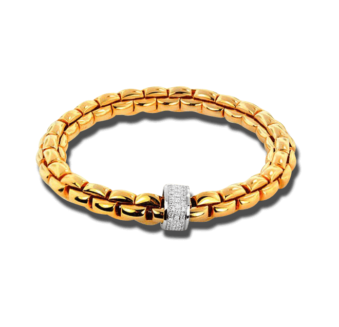 Armband Fope Flex'it Eka Gelbgold aus 750 Gelbgold mit mehreren Brillanten (0,63 Karat) Größe M