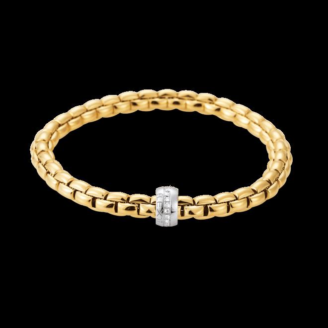 Armband Fope Flex'it Eka Gelbgold aus 750 Gelbgold und 750 Weißgold mit mehreren Brillanten (0,18 Karat) Größe L
