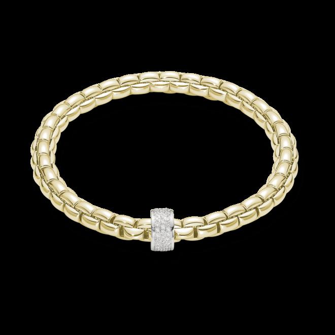 Armband Fope Flex'it Eka Gelbgold aus 750 Gelbgold und 750 Weißgold mit Diamant (0,53 Karat) Größe M