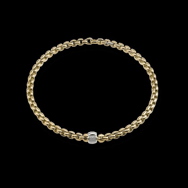 Halskette Fope Flex'it Eka Gelbgold aus 750 Gelbgold und 750 Weißgold mit mehreren Brillanten (0,25 Karat)