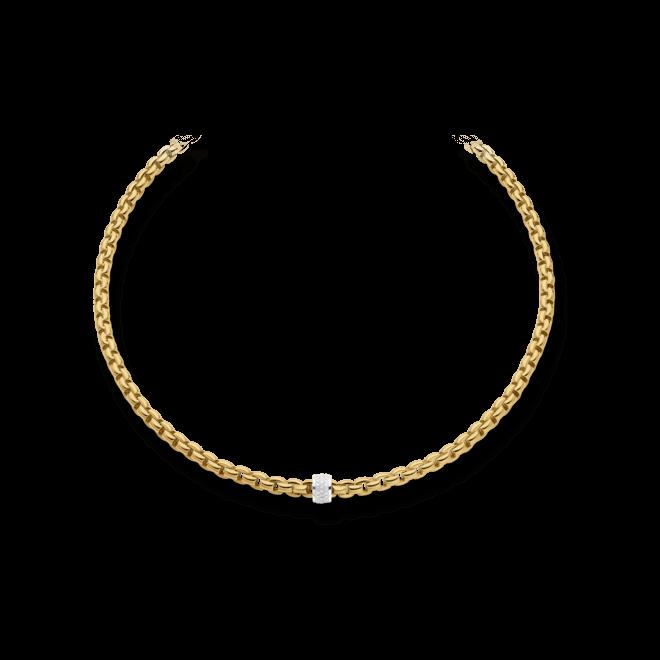 Halskette Fope Flex'it Eka Gelbgold aus 750 Gelbgold und 750 Weißgold mit mehreren Brillanten (0,63 Karat)
