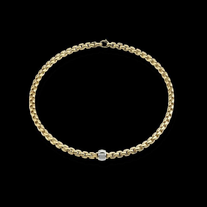 Halskette Fope Flex'it Eka Gelbgold aus 750 Gelbgold mit mehreren Brillanten (0,24 Karat)