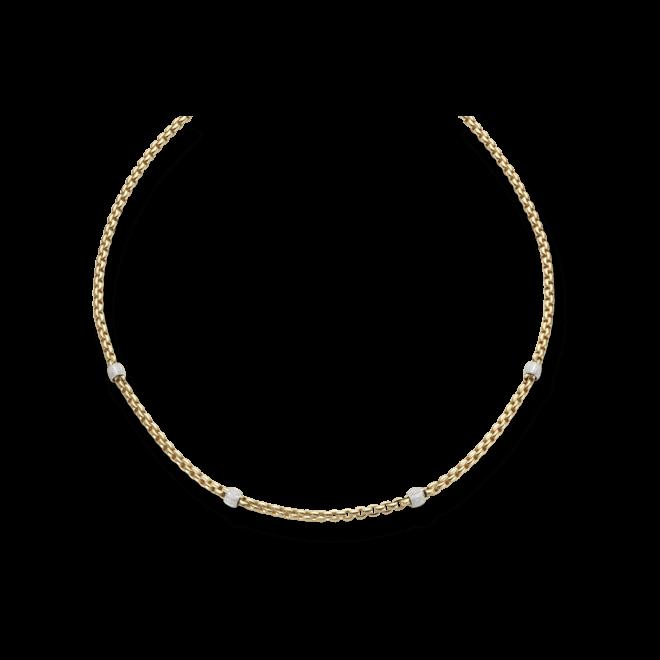 Halskette Fope Flex'it Eka Gelbgold aus 750 Gelbgold und 750 Weißgold mit mehreren Brillanten (1,95 Karat)