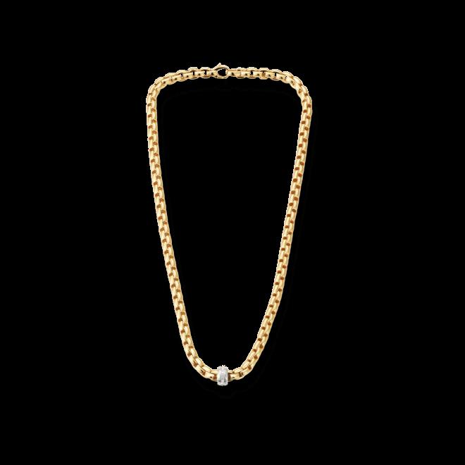 Halskette Fope Flex'it Eka Gelbgold aus 750 Gelbgold und 750 Weißgold mit mehreren Diamanten (0,18 Karat)