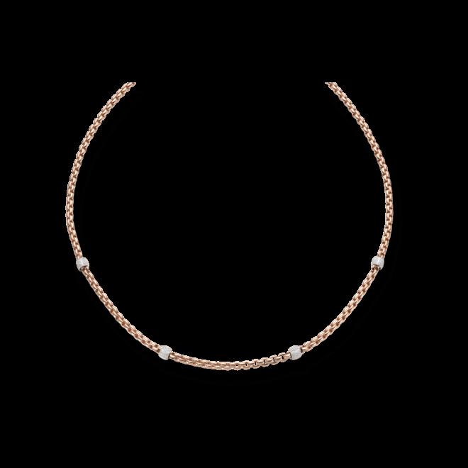 Halskette Fope Flex'it Eka aus 750 Roségold und 750 Weißgold mit mehreren Brillanten (1,95 Karat)