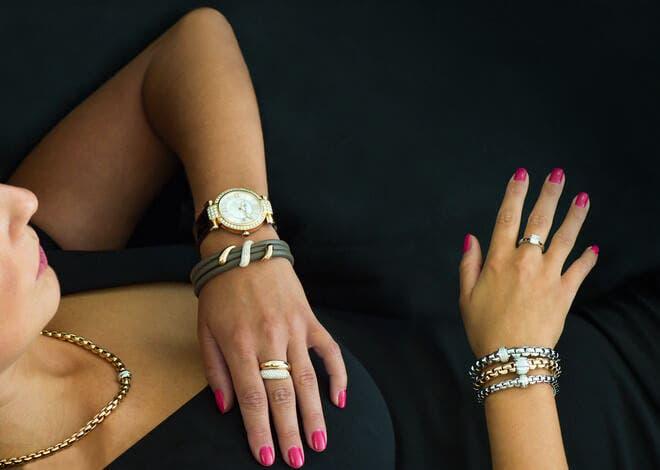 Halskette Fope Flex'it Eka aus 750 Gelbgold und 750 Weißgold mit mehreren Diamanten (0,18 Karat)